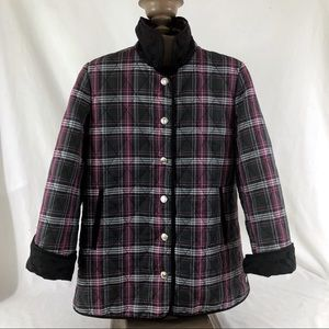 Coach plaid quilted jacket size S tartan coat